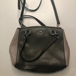 EUC Coach green/taupe colorblock purse